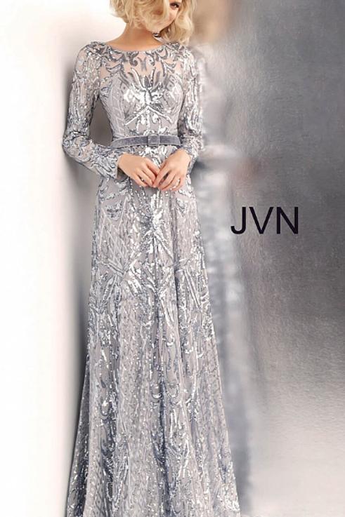 JOVANI Silver Long Sleeve Embellished Prom Gown JVN62711