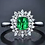 Thumbnail: Natural Vivid Green Emerald Diamond 18K White Gold Ring