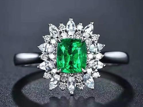 Natural Vivid Green Emerald Diamond 18K White Gold Ring