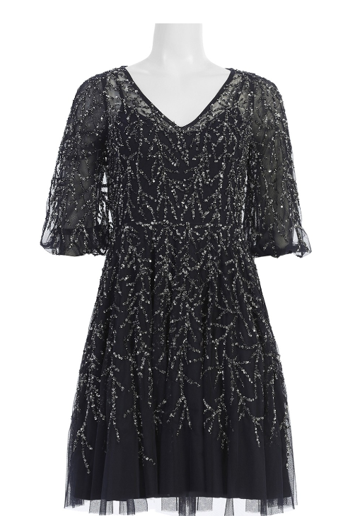 Aidan Mattox 3/4 Sleeve A-Line Embellished Mesh Dress
