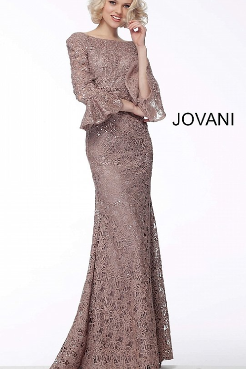 JOVANI Sand Bell Sleeves Lace Fitted Evening Dress