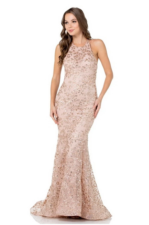Halter Top Backless Crystals & Sequin Mermaid Gown
