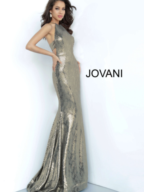 JOVANI Gold Metallic Racer Back Jovani Prom Dress 00689