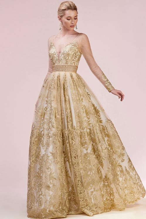 Mignon Manley Gold Lace Emblesshed Empress Gown