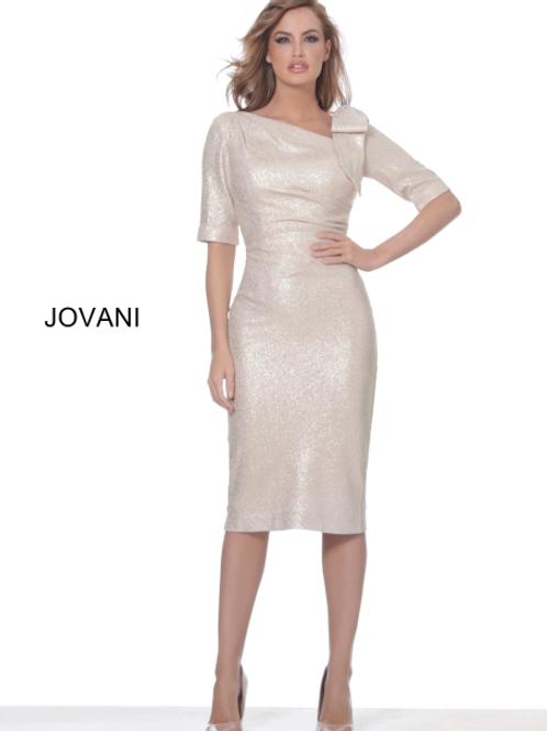 Jovani 03641 Light Gold Ruched Waist Knee Length Dress