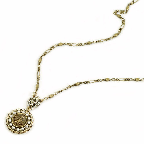 Holy Spirit Pearl Bird Coin Necklace