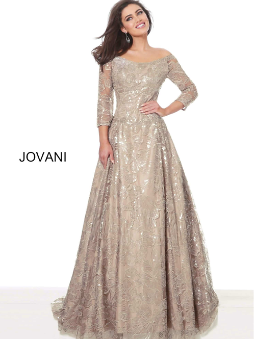 Jovani 65403 Nude Three Quarter Sleeve A Line Mother of the Bride Gown