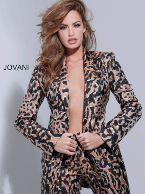 Jovani 03840 Animal Print Two Piece Pant Suit