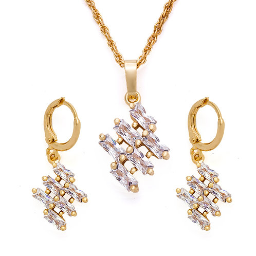 Cubic Necklace and Earring Set