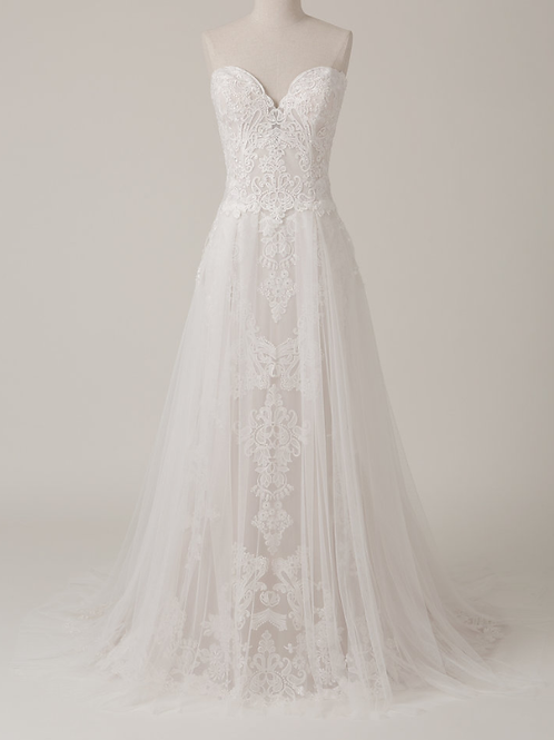 Mignon Manley DesignStrapless Embellished Beaded Lace Bridal Gown