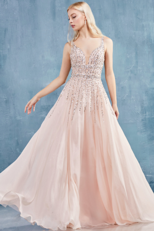 ANDREA & LEO Ambrosia Off Shoulder Glitter Constellation A-Line Gown
