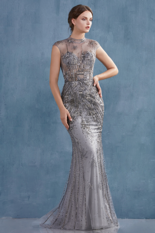 ANDREA & LEO Beaded Flare Gown