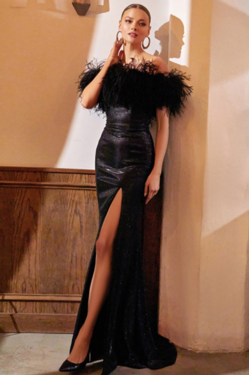 Embellished Black Feather Gown