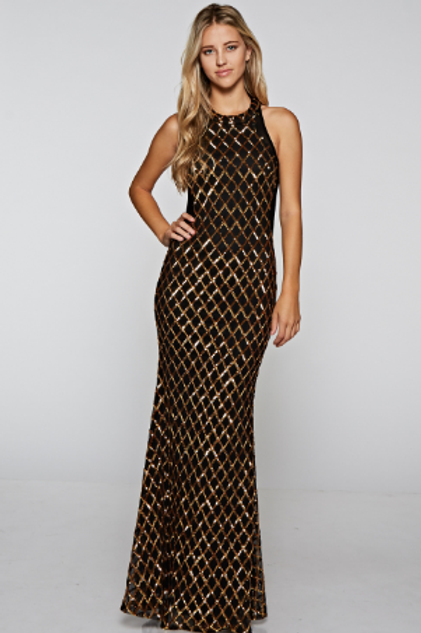 Maxi Mermaid Embellished Sequin Dress
