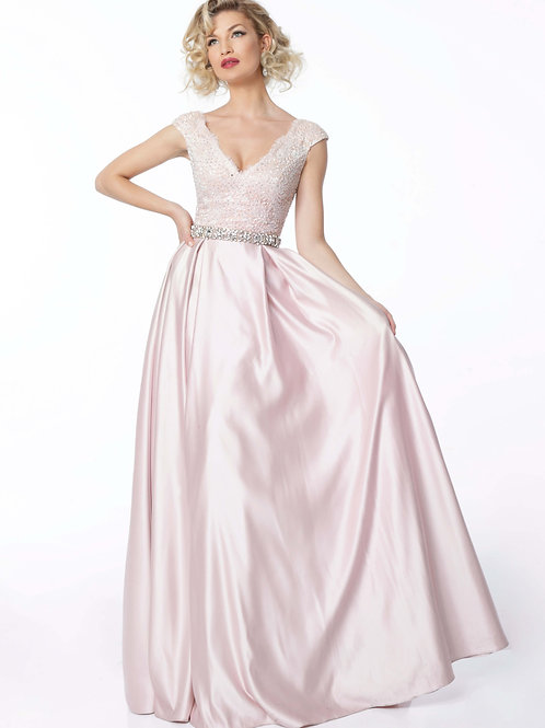 Petal Pink Lace Bodice V Neck Evening Gown 21790