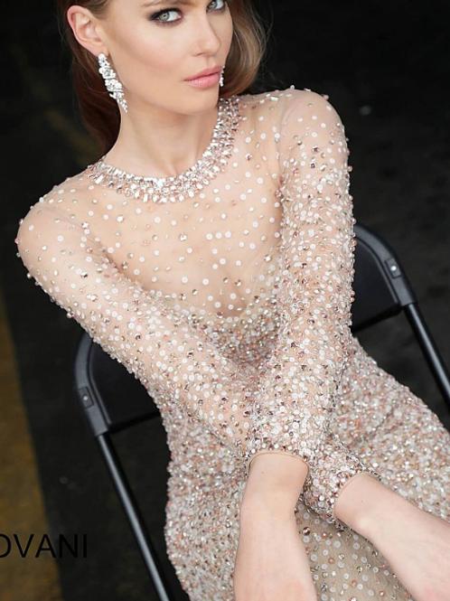 Blush Gold Long Sleeve Beaded Evening Dress 59756