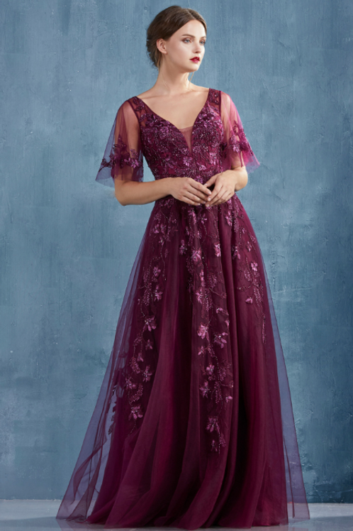 By Kathy, Lace Beaded Flutter Sleeves Telle A-Line Gown