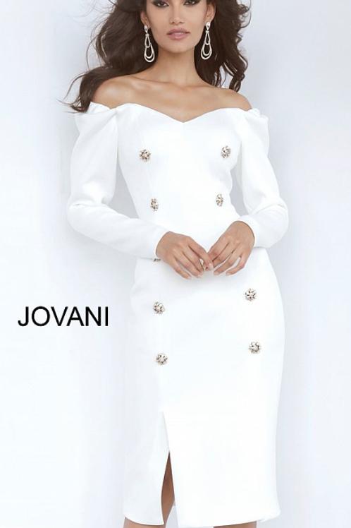 Jovani White Long Sleeve Sweetheart Neckline Cocktail Dress 3570