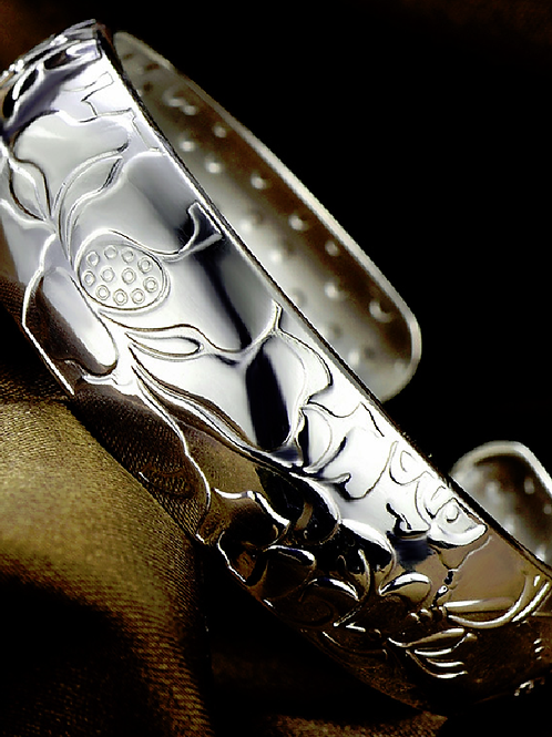 Wide Sterling Silver Open Bangle