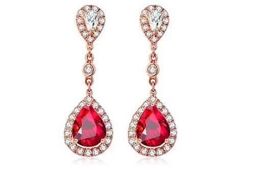 18K Rose Gold Pear-shape1.42ct Natural Ruby Earrings