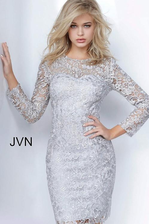 JVN3217 Silver Lace Long Sleeves Dress