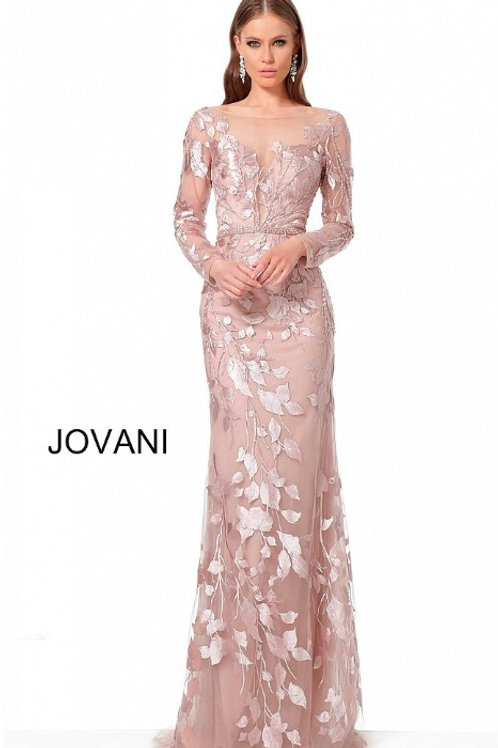 Light Purple Long Sleeve Fitted Evening Dress 66914