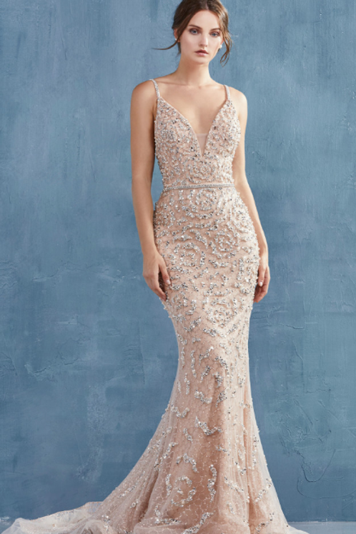 FLORA GOWN, Fully Breaded V-Neck Fit And Flare Gown
