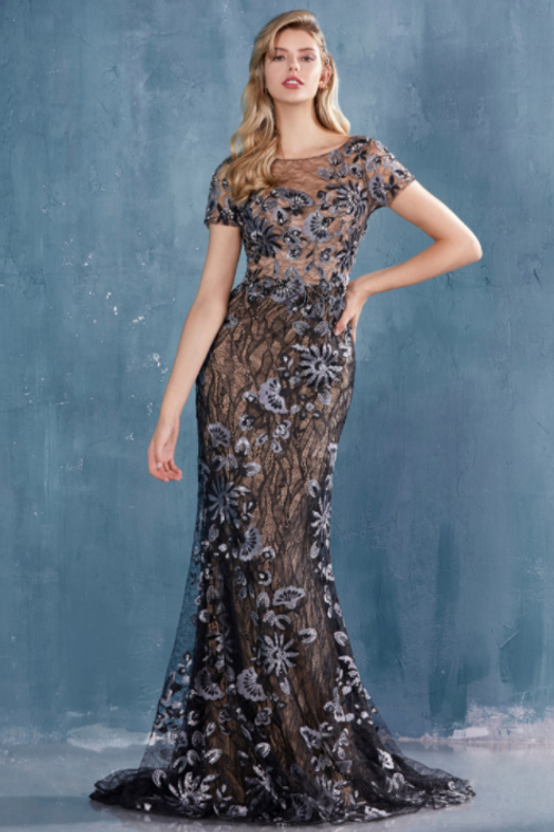 Andrea & Leo Cap Sleeve Layered Lace Fit & Flair Gown