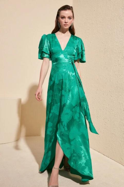 V-Neck Short Sleeve A-Line Dress