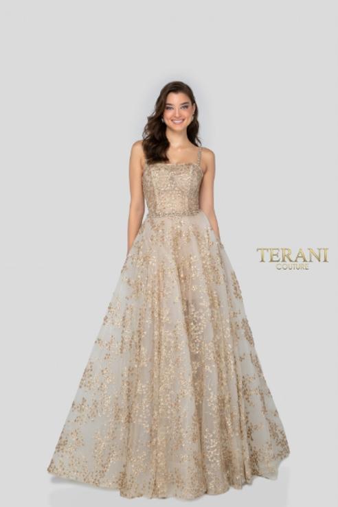 Terani Couture StunningGold-Glitter Ballgown