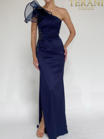 Terani Couture Satin A-Line One Shoulder Evening Dress