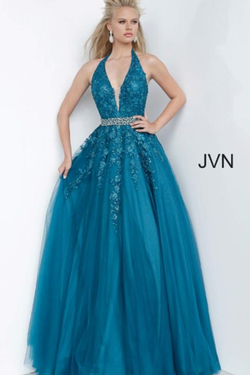 JVN00923 Halter Neckline Embroidered Ballgown