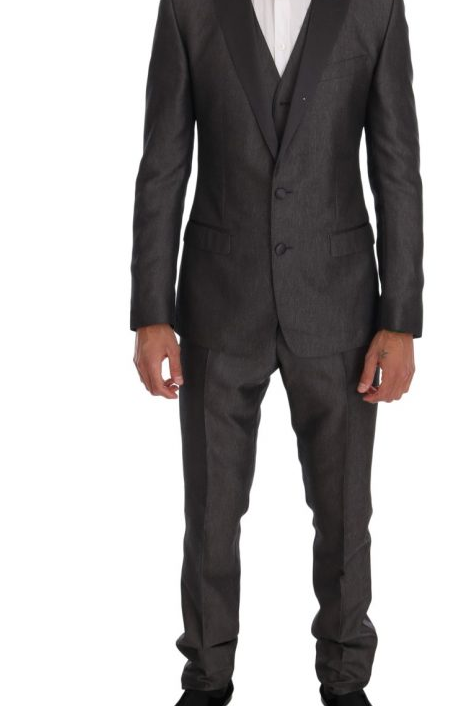 DOLCE & GABBANA  GRAY SLIM FIT MARTINI WOOL 3 PIECE SUIT