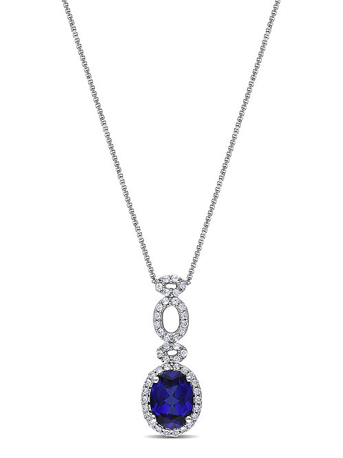 NECKLACE, BLUE & WHITE SAPPHIRE OVAL PENDANT NECKLACE