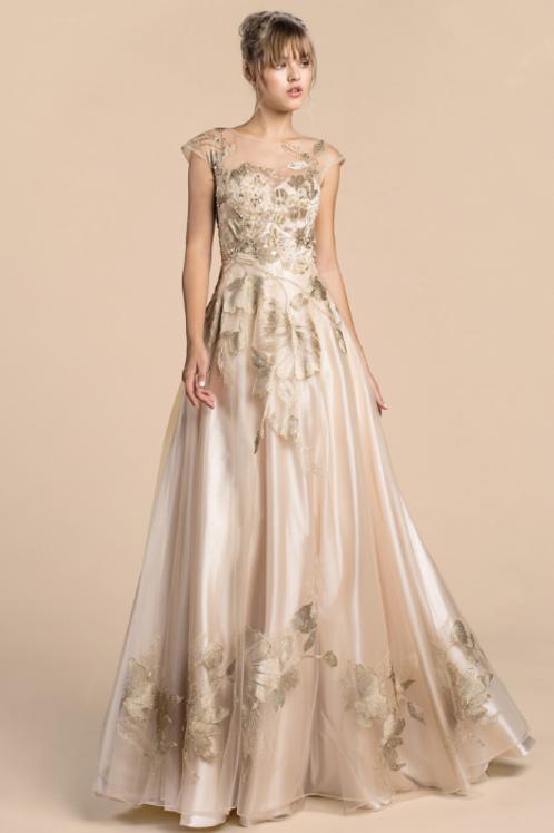 Mignon Manley Metallic Floral Lace Gown