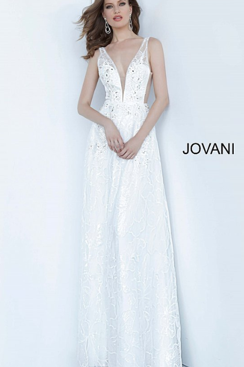 Off White Illusion Embellished Jovani Gown 66168