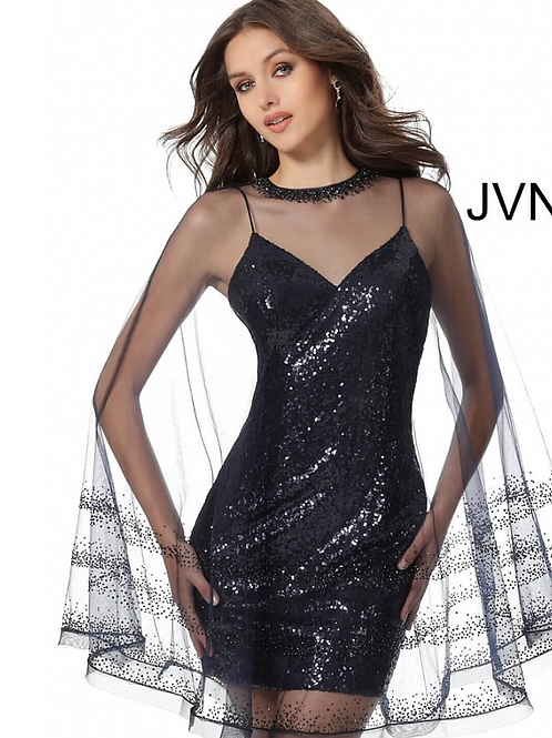 JVN65809 Navy Sequin Fitted Short Dress with Overlay