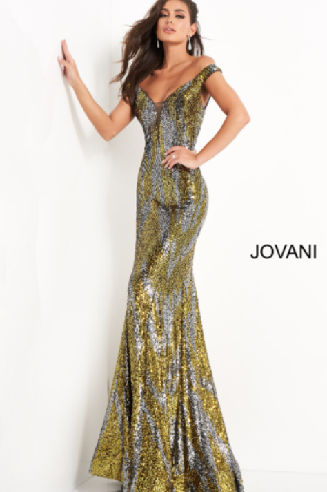 Jovani 04149 Silver Yellow Off the Shoulder Sequin Prom Dress