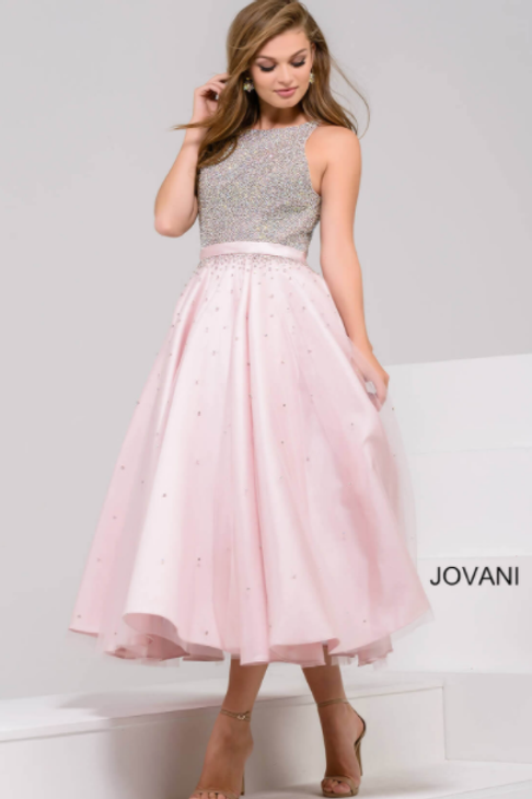 JOVANI Blush Embellished Bodice Tea Length A-Line Dress 48103