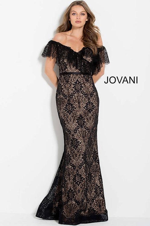 Black Nude Off the Shoulder Lace Formal Dress 61459
