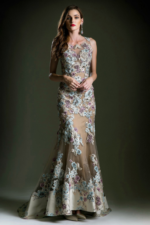 Embroidered Lace Fit And Flair Gown