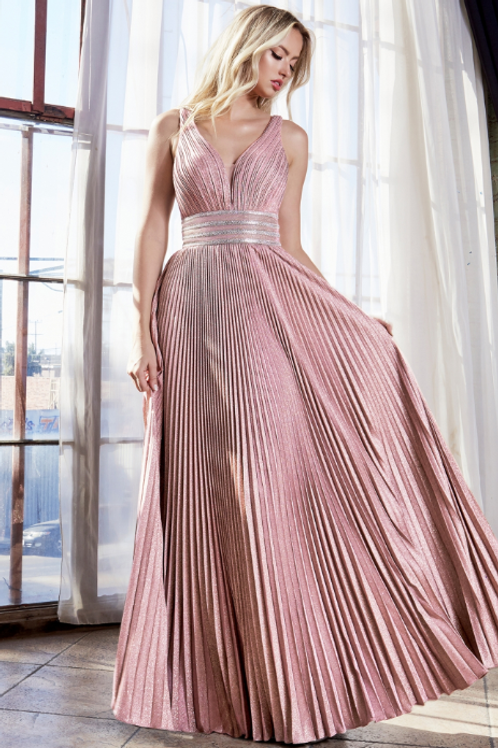 A-line Pleated Dress w/ Beaded Belt & Gathered Bodice