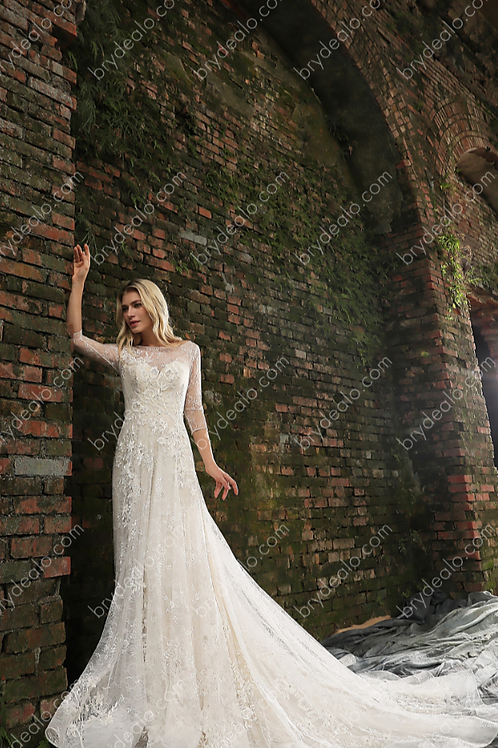 Three-Quarter Sleeve Floral Lace Wedding Gown
