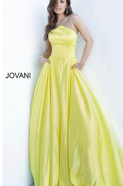 Jovani 68993 Yellow Strapless Pleated Skirt Satin Gown