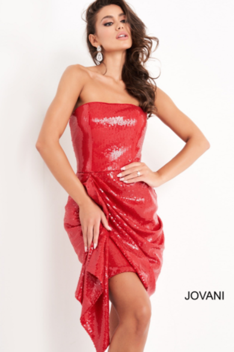 Jovani 04105 Red Sequin Strapless Homecoming Dress