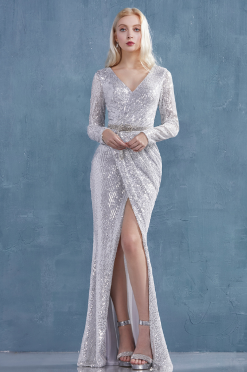 Lydia Long Sleeves Sheath Sequined Gown W Belt