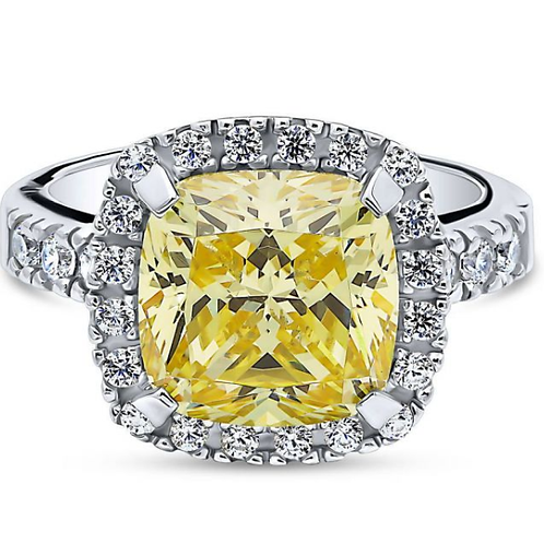 Sterling Silver Cushion Canary Yellow CZ Halo Statement Ring