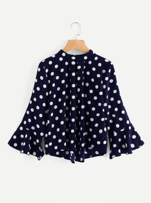 Polka Dot Pleated Front Blouse