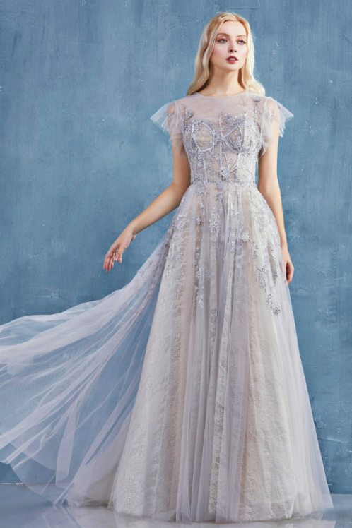 ANDREA & LEO Gwen Ruffle Cap Sleeve Lace Tulle Gown