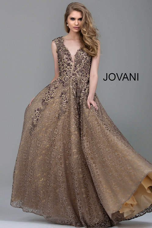Taupe Embroidered Lace A-Line Evening Gown 55877